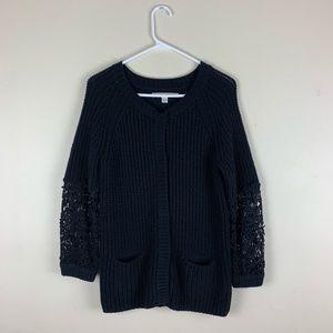 Lauren Conrad Crochet L/S Snap Cardigan Sweater